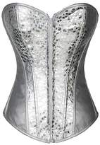 Blidece Faux Leather Sequin Fashion Overbust Corset with G-string S