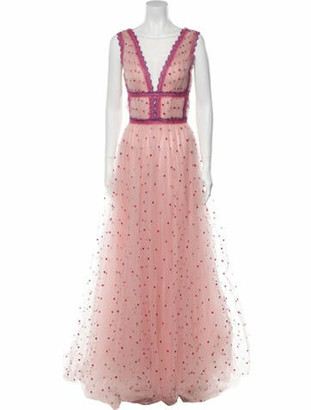 Costarellos Polka Dot Print Long Dress Pink