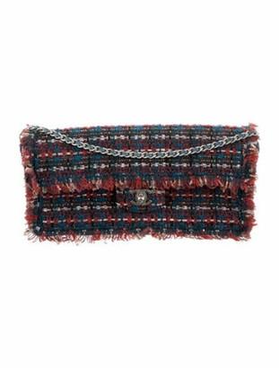 Chanel Tweed E/W Single Flap Bag Navy
