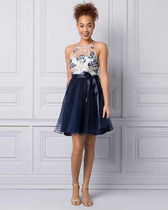 Le Château Embroidered Mesh Halter Party Dress