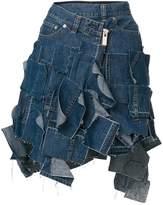 Sacai patchwork denim mini skirt