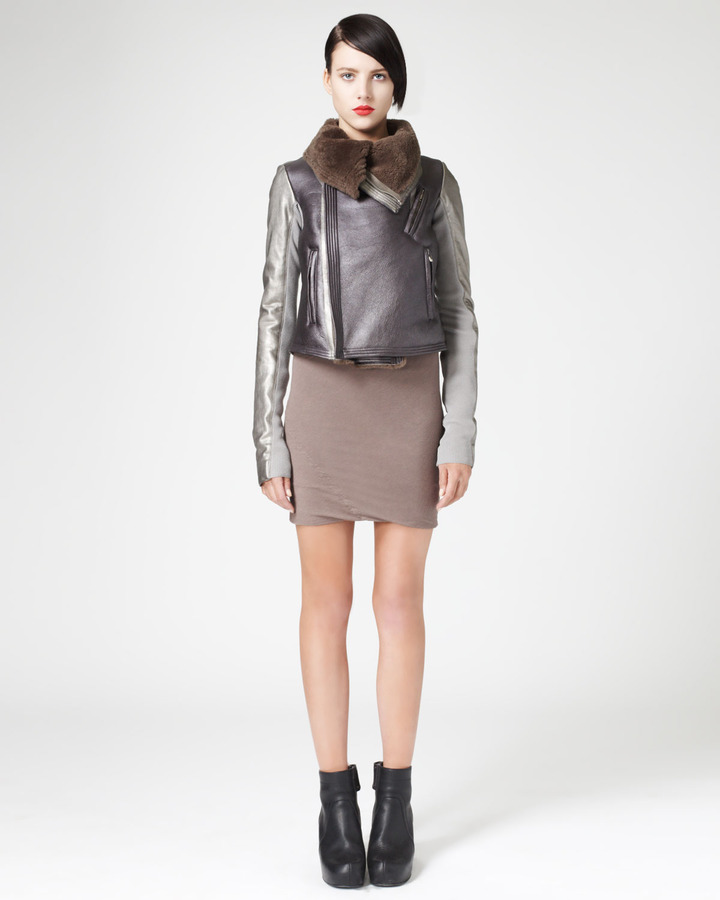 Rick Owens Metallic Shearling Aviator Jacket