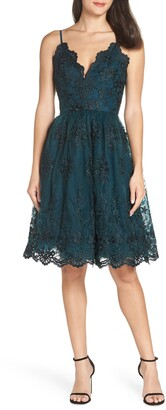 Chi Chi London Embroidered Fit & Flare Party Dress