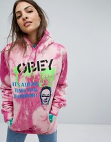 Obey Bleached Boyfriend Hoodie In Tie Dye With Front & Back Graphic