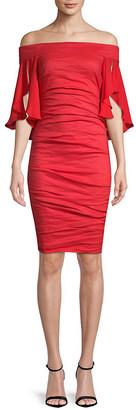 Nicole Miller Artelier Georgette Combo Off-The-Shoulder Dress