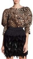 Gracia Cheetah Print Bishop Sleeve Blouse