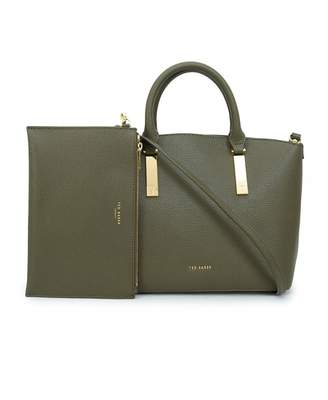 Ted Baker Soft Leather Small Tote Bag Colour: KHAKI, Size: One Size