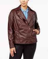 Joujou Jou Jou Trendy Plus Size Asymmetrical Faux-Leather Jacket
