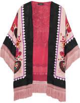 Etro Fringed Printed Silk-jacquard Kimono - Pink