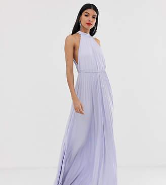 Asos Tall DESIGN Tall Halter Pleated Waisted Maxi Dress-Purple
