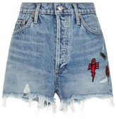 A Gold E Agolde Frayed Denim Patchwork Shorts
