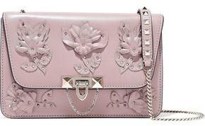 Valentino Garavani Floral-appliqued Leather Shoulder Bag