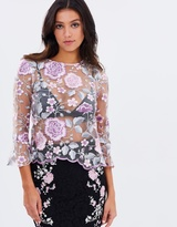 Lipsy Embroidered Bell Sleeve Top