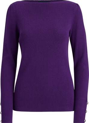 Ralph Lauren Puff-Sleeve Boatneck Sweater