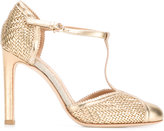 Salvatore Ferragamo metallic weave pumps