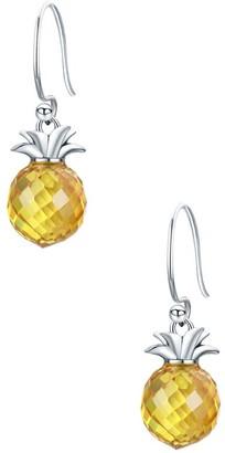 Zada ZADA Women's Earrings Silver - Yellow Zircon & Sterling Silver Pineapple Drop Earrings