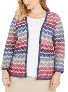 Alfred Dunner Plus Size Autumn Harvest Layered-Look Chevron Knit Top