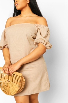 boohoo Plus Bardot Linen Shift Dress