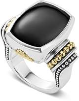 Lagos 18K Gold and Sterling Silver Caviar Color Large Onyx Ring