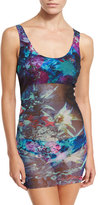 Fuzzi Tropical-Print Two-Piece Tankini Swimsuit, Turquoise