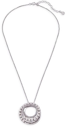 Majorica Sterling Silver & 4MM White Organic Man-Made Pearl Big Circle Pendant Necklace