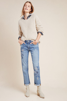 Pilcro High-Rise Embroidered Boyfriend Jeans By Pilcro and the Letterpress in Blue Size 27