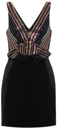 Self-Portrait Sequined velvet minidress