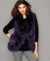 The Fur Vault Fox-Trim Knitted Chinchilla Fur Vest