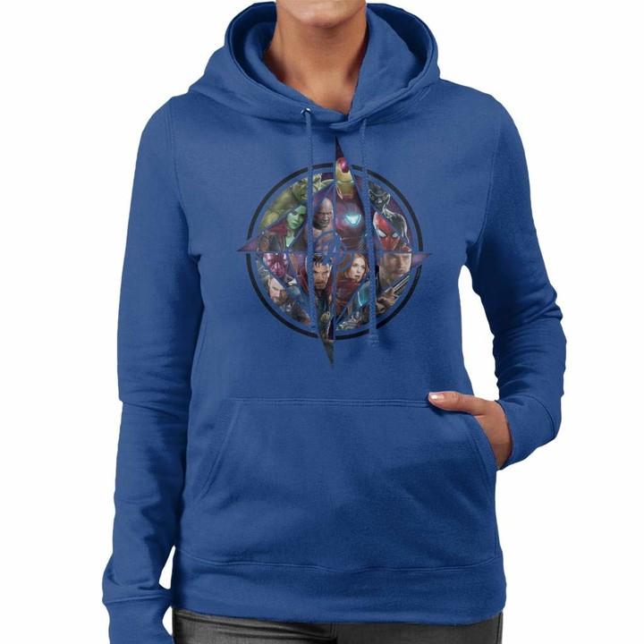 Marvel Avengers Infinity War Character Montage Women's Hooded Sweatshirt Royal Blue
