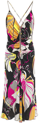 Emilio Pucci Crystal-embellished Ruched Printed Silk-jersey Slip Dress