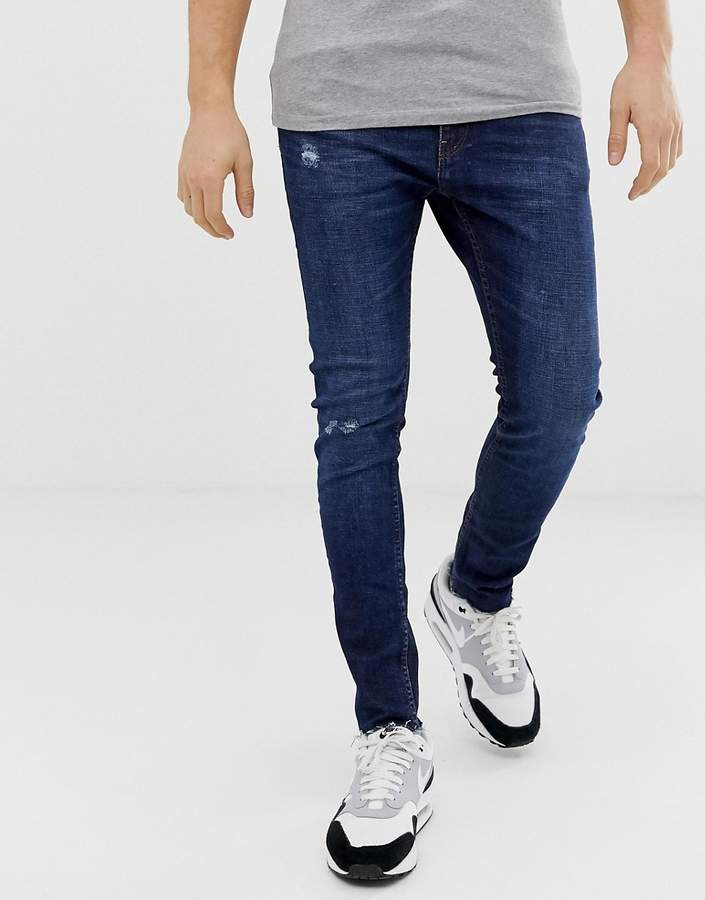 cf169f591119f Join Life super skinny jeans with knee rip and abrasions in dark blue