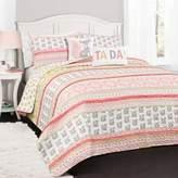 Lush Decor Pink & Gray Fox Ruffle Stripe Quilt Set