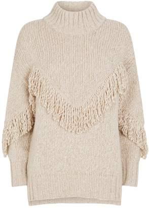 Lorena Antoniazzi Fringed Wool-Blend Sweater