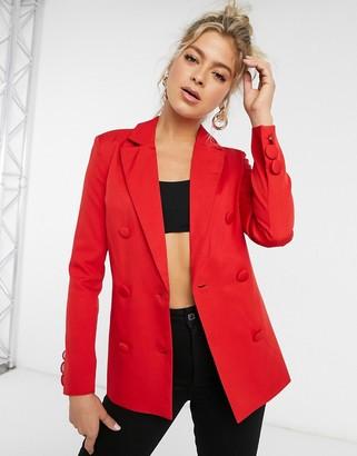 Club L London oversized dad blazer in red