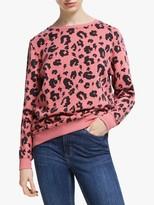 Scamp & Dude Unisex Crew Neck Leopard Print Sweatshirt, Pink/Black