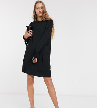 Vero Moda Tall shift dress with tie sleeves in black