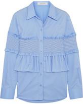 Cédric Charlier Ruffled Smocked Cotton-blend Shirt - Sky blue