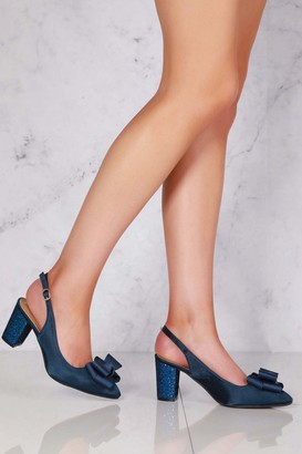 Miss Diva Kirra slingback with bow trim court in Navy Satin