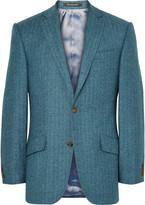 Richard James - Blue Hyde Slim-fit Herringbone Wool And Silk-blend Blazer