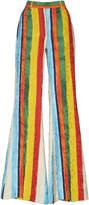 Dolce & Gabbana Striped Crepe de Chine High-Rise Flared Pants