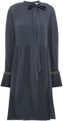 Brunello Cucinelli Pussy-bow Silk Crepe De Chine Mini Dress