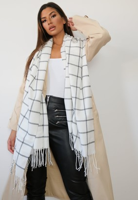 Missguided White Window Check Blanket Scarf