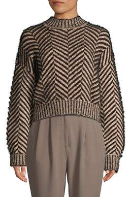 C/Meo Cmeo Collective Herringbone Faux Fur & Cotton-Blend Sweater