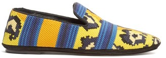 Loewe Leopard-print Woven Loafers - Womens - Yellow Multi