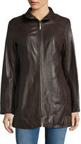 Ellen Tracy Zip-Up Leather Jacket