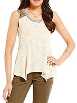 Miss Me Crochet Embellished Embroidered Lace Tank