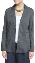 Eileen Fisher Notch-Collar Two-Button Linen-Stretch Jacket