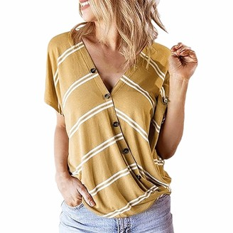 CUTUDE Plus Size Women T Shirts Cross Short Sleeve Summer Tee Ladies Stripe Blouse Button Vest Pullover Tops Fashion (Yellow XXL)