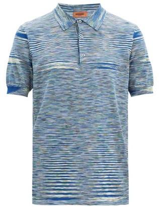 Missoni Striped Cotton-pique Polo Shirt - Blue Multi