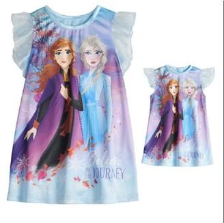 Frozen 2 Toddler Girls Matching Doll & Me Nightgown Pajamas, 2pc Gift Set (2T-5T)